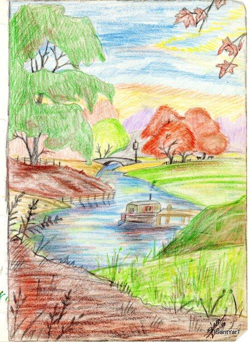 paisaje con lapices de colores