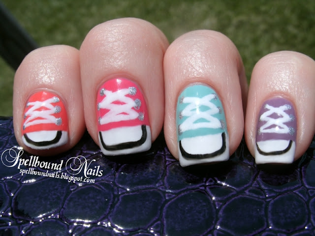 Kickin' Converse Shoes nail art