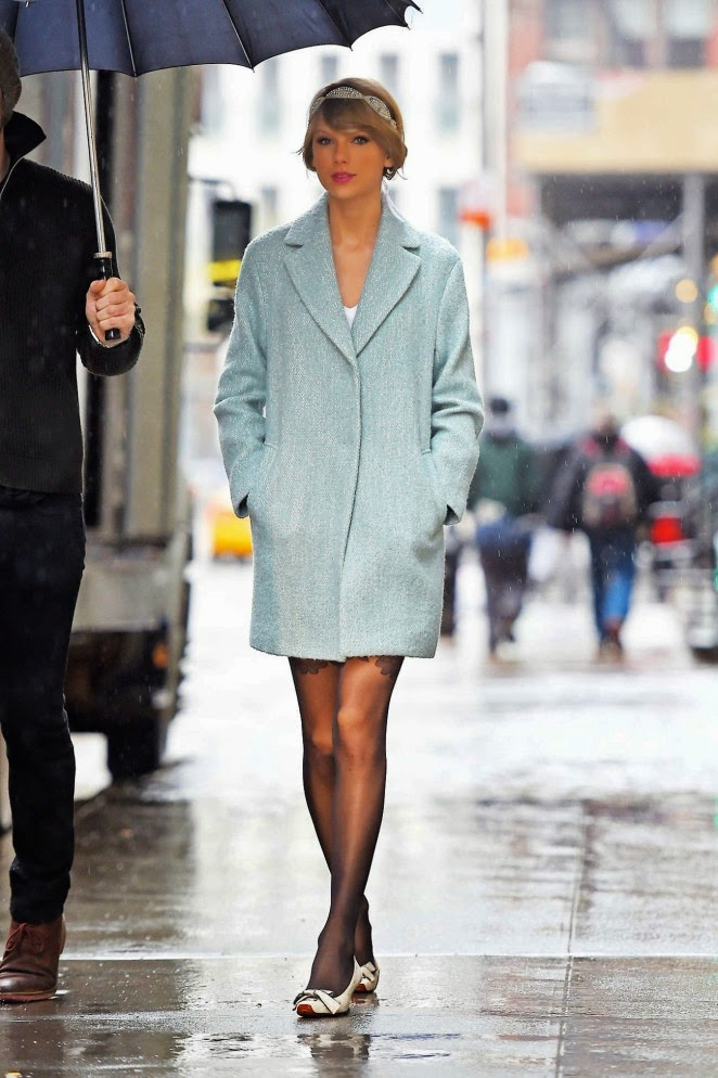 Taylor Swift shows off legs in sheer tights out and about in NYC
