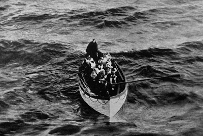A life boat waiting to be taken aboard rescue ship RMS Carpathia