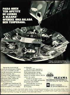 propaganda Oleama e Óleo Cristal - 1972; 1972; os anos 70; propaganda na década de 70; Brazil in the 70s, história anos 70; Oswaldo Hernandez;