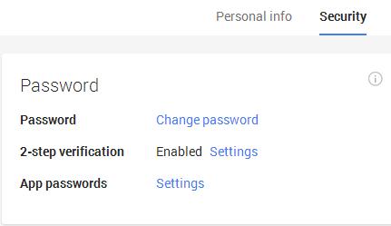 Google Security Tab