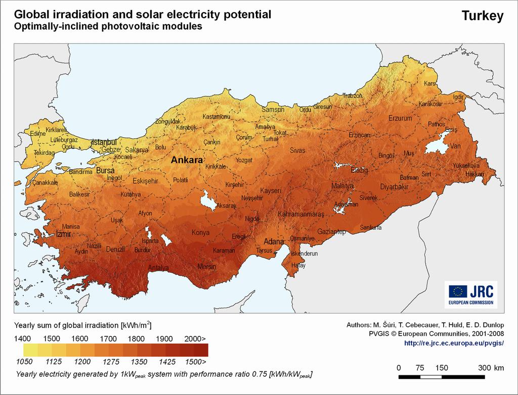 Türkiye güneş enerjisi haritası