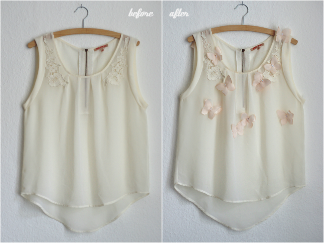 How to add a romantic touch in form of chiffon butterflies to your summer blouse. www.fashionrolla.com