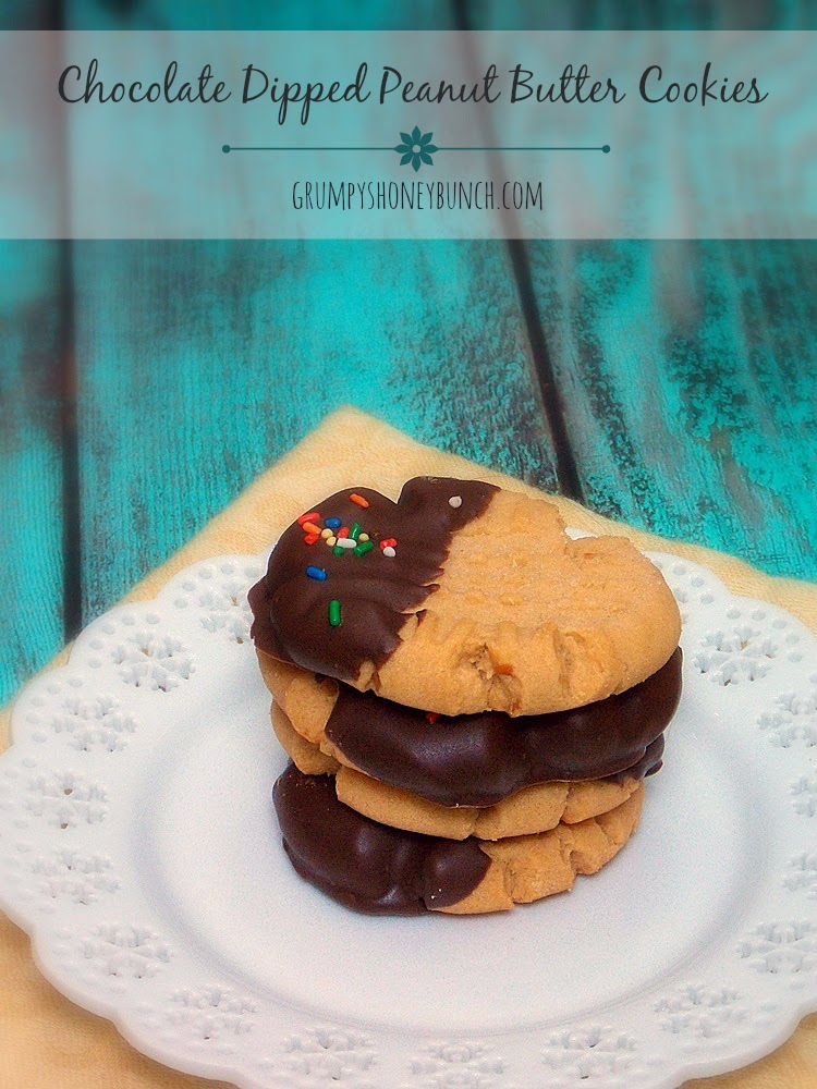 Chocolate Dipped Homemade Peanut Butter Cookies - say I love you with peanut butter and chocolate!