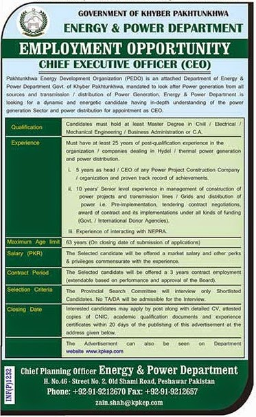 Executive Jobs in Energy and Power Department, Peshawar