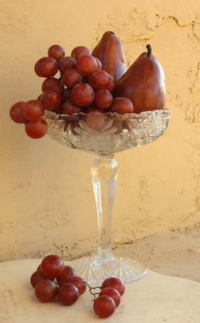 grapes, still-life, pears, red, photograph, photography, sarah, myers, crystal, compote, glass, fruit, cluster