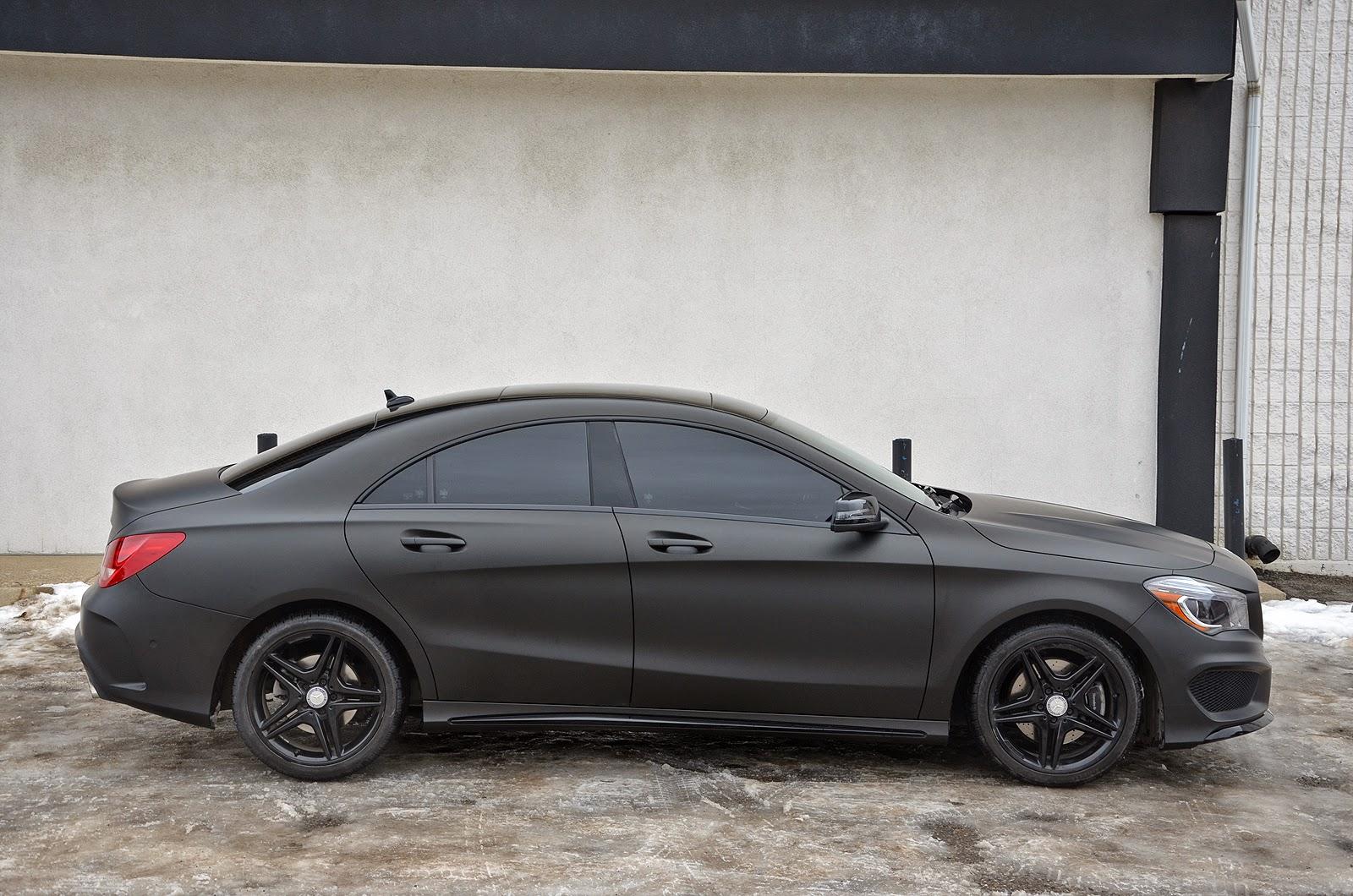 Zr auto blog sinister matte black wrapped mercedes cla for Mercedes benz matte black