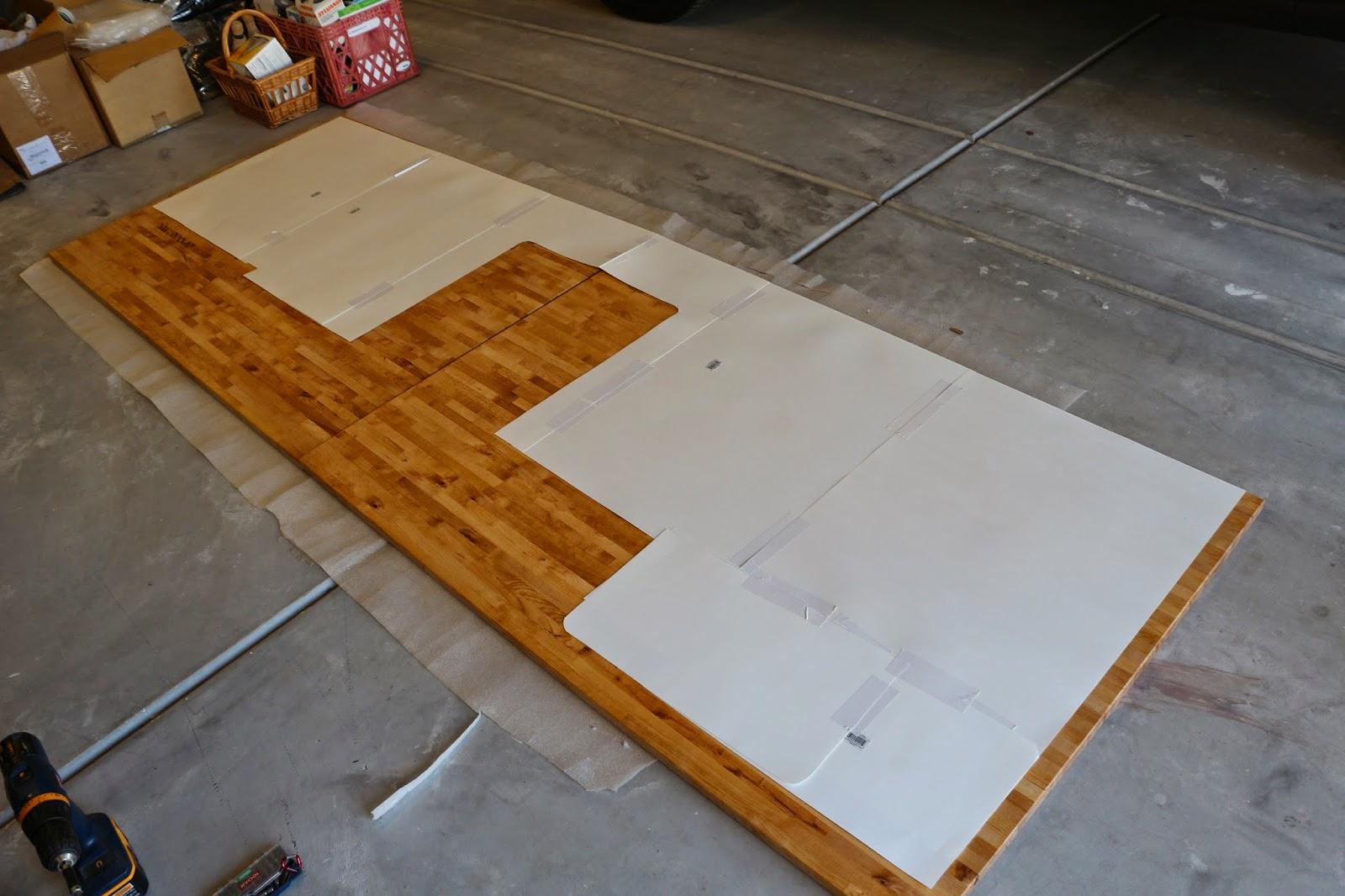 diy wood counters, wood countertop template, how to make wood countertops