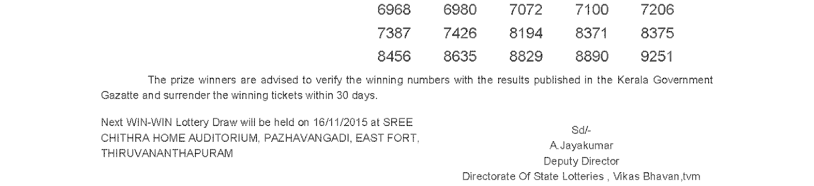 WIN WIN Lottery W 333 Result 9-11-2015