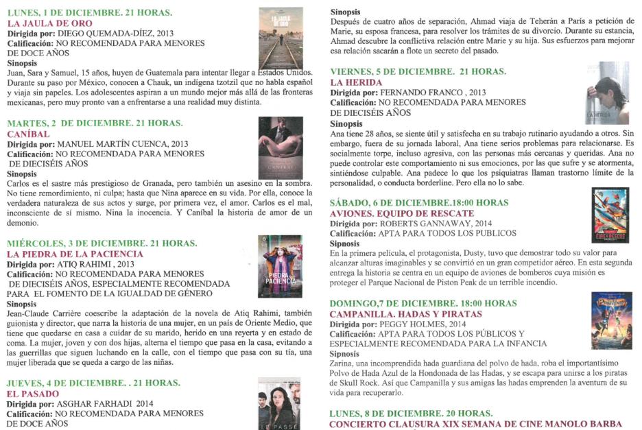 PROGRAMACIÓN XIX CICLO DE CINE MANOLO BARBA