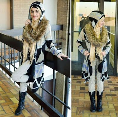 hijab coat berbulu