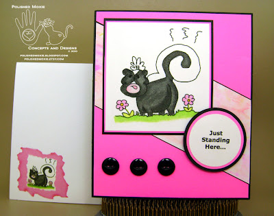 Picture of the skunk card and its coordinating envelope