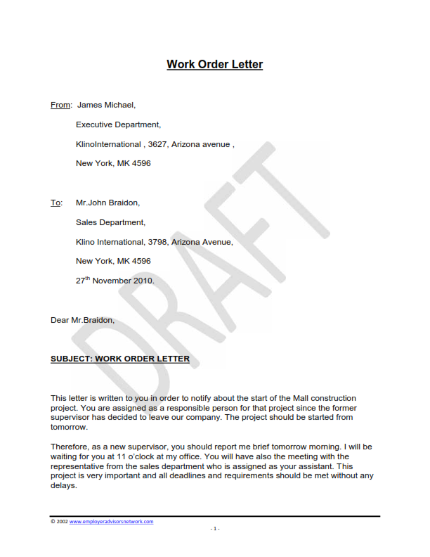 Free Sample Of Work Order Letter