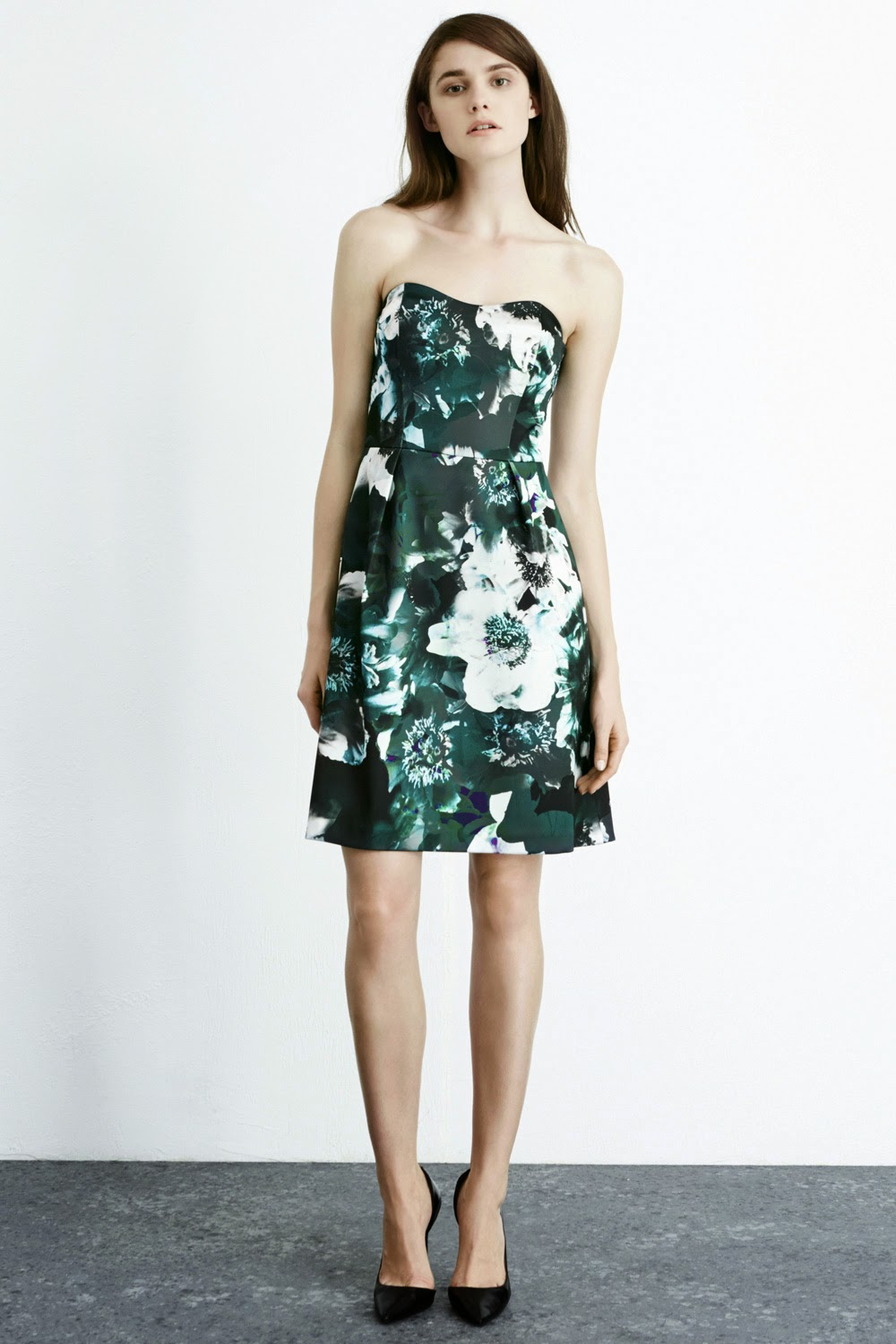warehouse floral bandeau dress