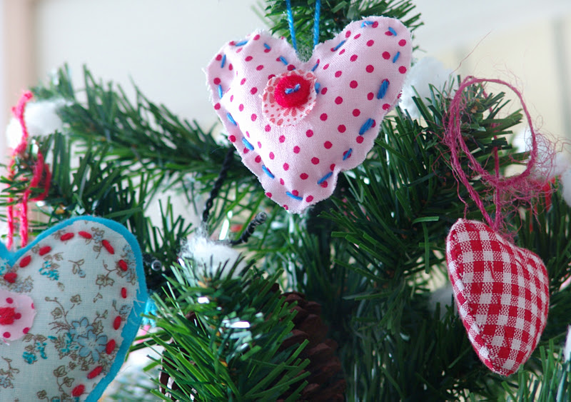 Lalibelula adornos del arbol de navidad de fieltro y tela - Arbol de navidad de tela ...