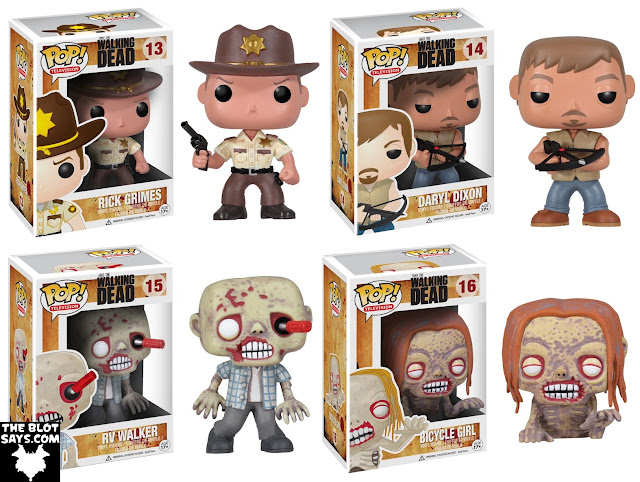 The Walking Dead Pop! Television Series 1 by Funko - Rick Grimes, Daryl Dixon, RV Walker & Bicycle Girl Vinyl Figures