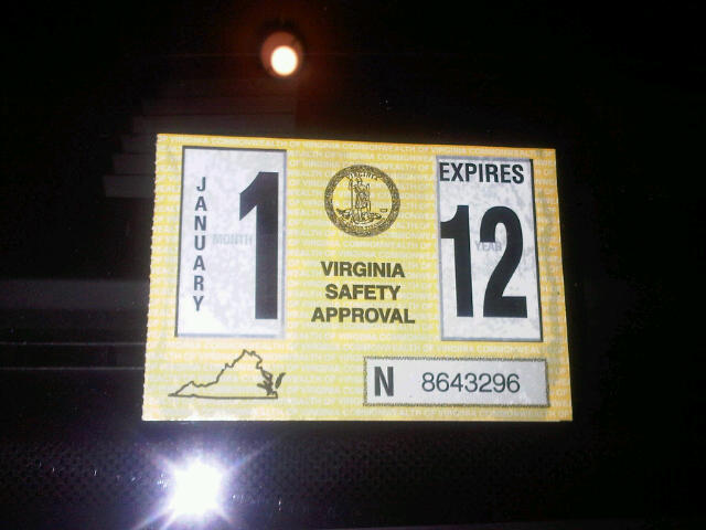 2012 Virginia State Inspection Sticker http://dude2yall.blogspot.com/