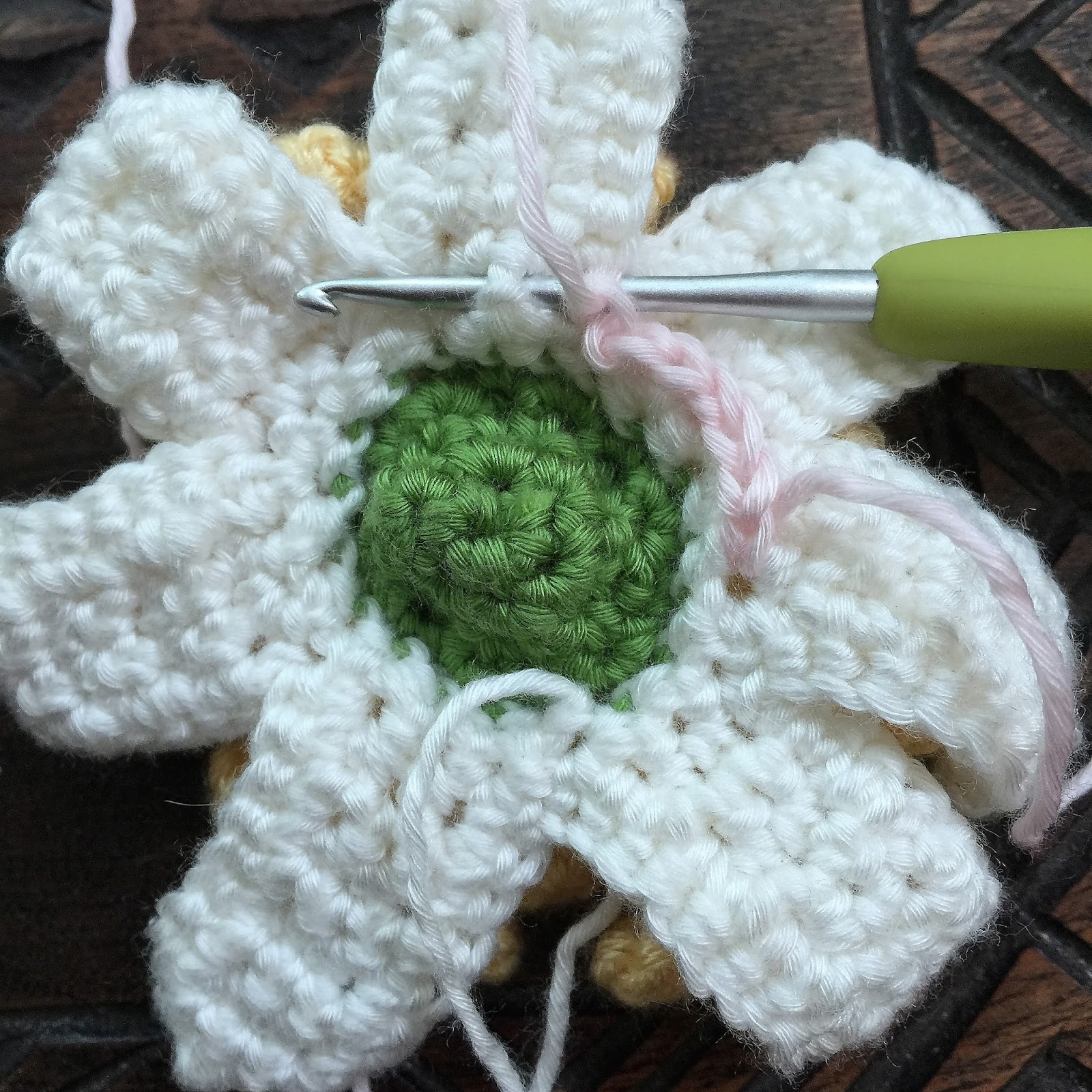 Crochet rockstar lotus crochet flower photo tutorial r5 pick up light pink bpsc into the center back of the previous petal izmirmasajfo Gallery
