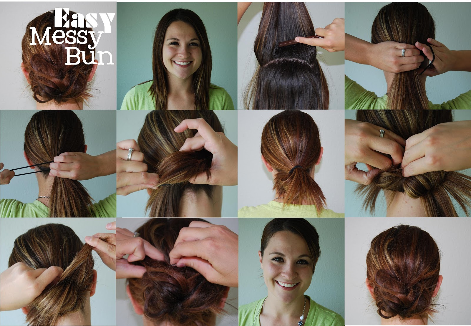 how to make a messy top bun