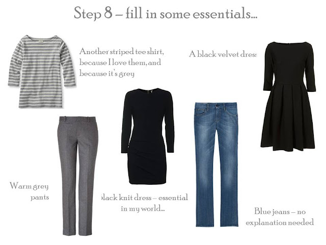 5 additions to a Project 333 wardrobe: grey striped tee, grey pants, black knit dress, blue jeans and black velvet dress