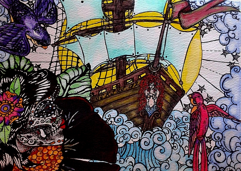 Watercolor painting of story of Gloucester's Lost Pirates by Stephanie Ayers