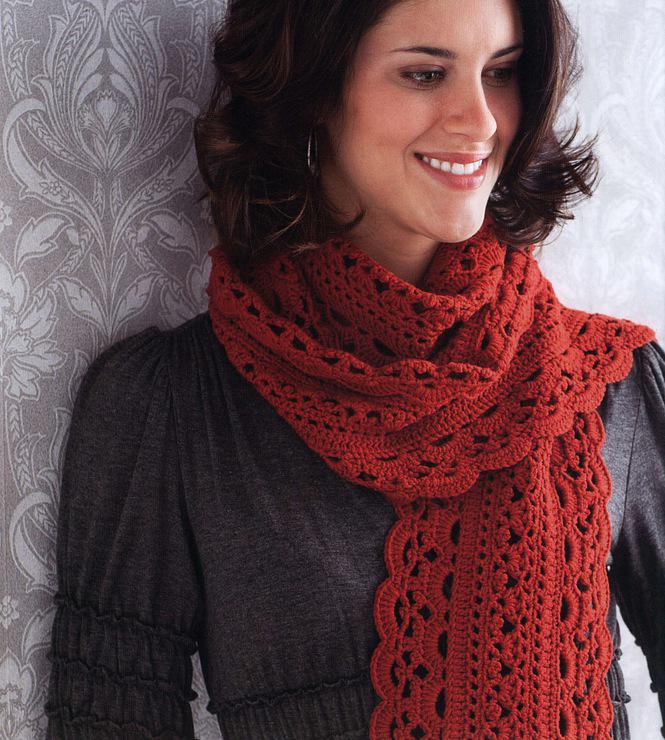 Cachecol vermelho em crochê