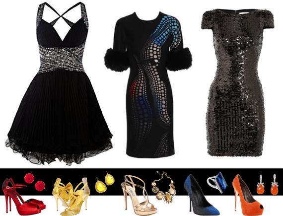 Лук на новый год черное платье