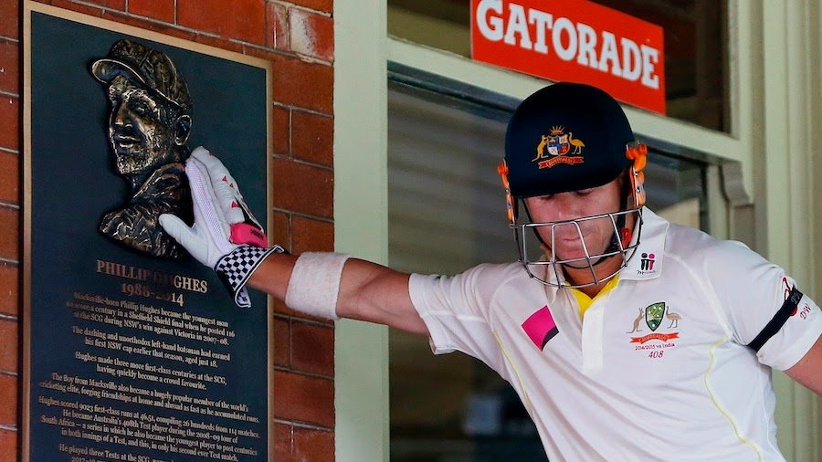 David-Warner-touches-the-memorial-plaque-for-Phillip-Hughes-Australia-v-India-4th-Test-Sydney-1st-day-2015
