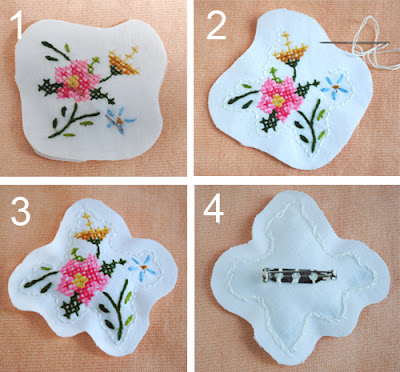 Zakka life mother s day embroidery brooch