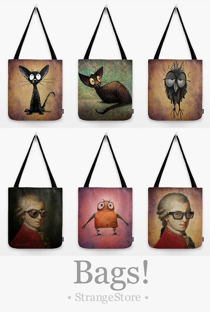 funny bag, funny owl bag, funny cat bag, funny monster bag, funny steampunk bag, online bags,