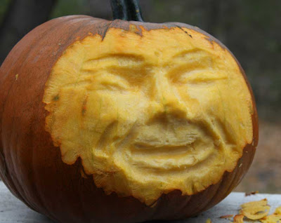 carved pumpkin face