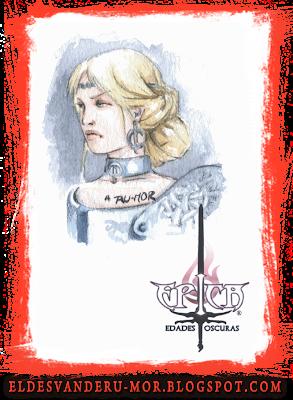 Acuarela (marcapáginas) del personaje Kalara del juego de cartas ÉPICA: Edades Oscuras realizado por ªRU-MOR. Fantasía medieval