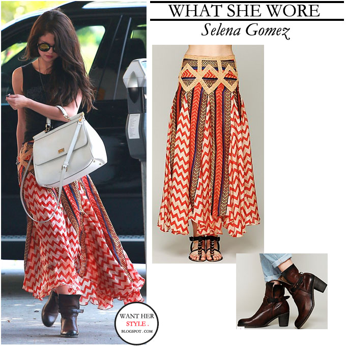 what she wore selena gomez in maxi print skirt with
