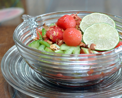 Watermelon & Celery Salad @ AVeggieVenture.com, bright with lime, sweet with honey, a great summer combo. Vegan, naturally gluten free, Weight Watchers PointsPlus 3