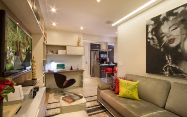 Sala De Tv Com Home Office ~ Aqui, o Home Office ocupa um canto entre a sala de Tv e sala de jantar