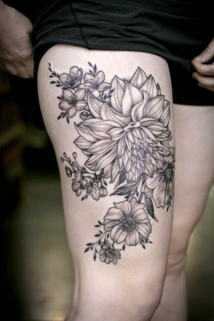 ♥ ♫ ♥ Dahlias and garden flowers by Alice Kendall ... #tattoo #ink #flowers ♥ ♫ ♥