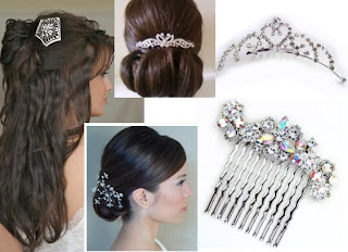 wedding hair combs rhinestones