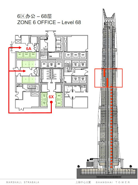 Elevator system in zone 6 in Shanghai Tower