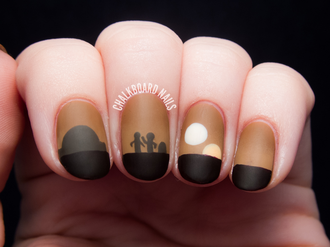 Sunset On Tatooine - Star Wars Nail Art - Sunset On Tatooine - Star Wars Nail Art Chalkboard Nails Nail