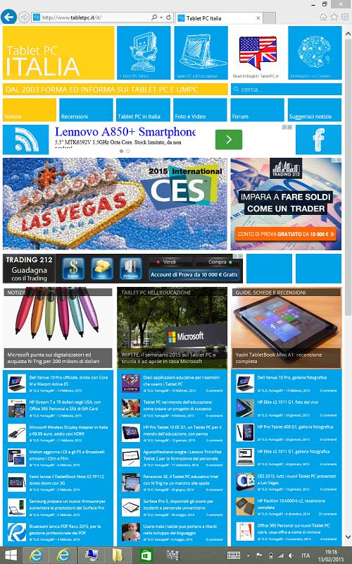 Schermata dell'HP Stream 7 con la barra delle applicazioni in modalità