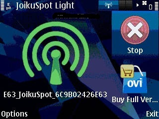 symbian hotspot wifi  joikuspot light4