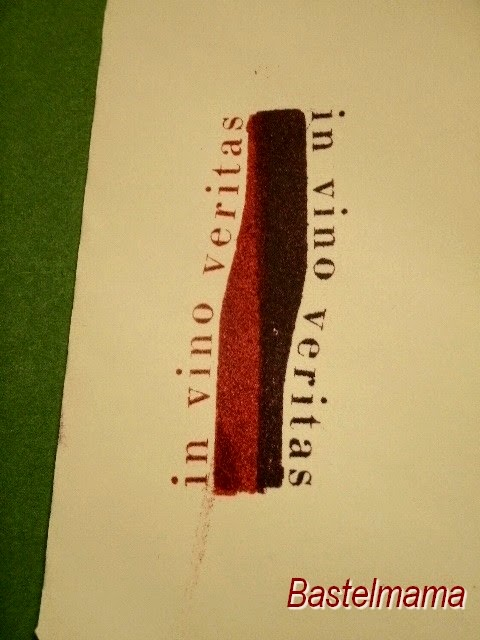 Weinflsche, Karte, Stempel