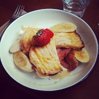 french toast, maple syrup, bacon and fruit brunch at Tamper Coffee, Sheffield