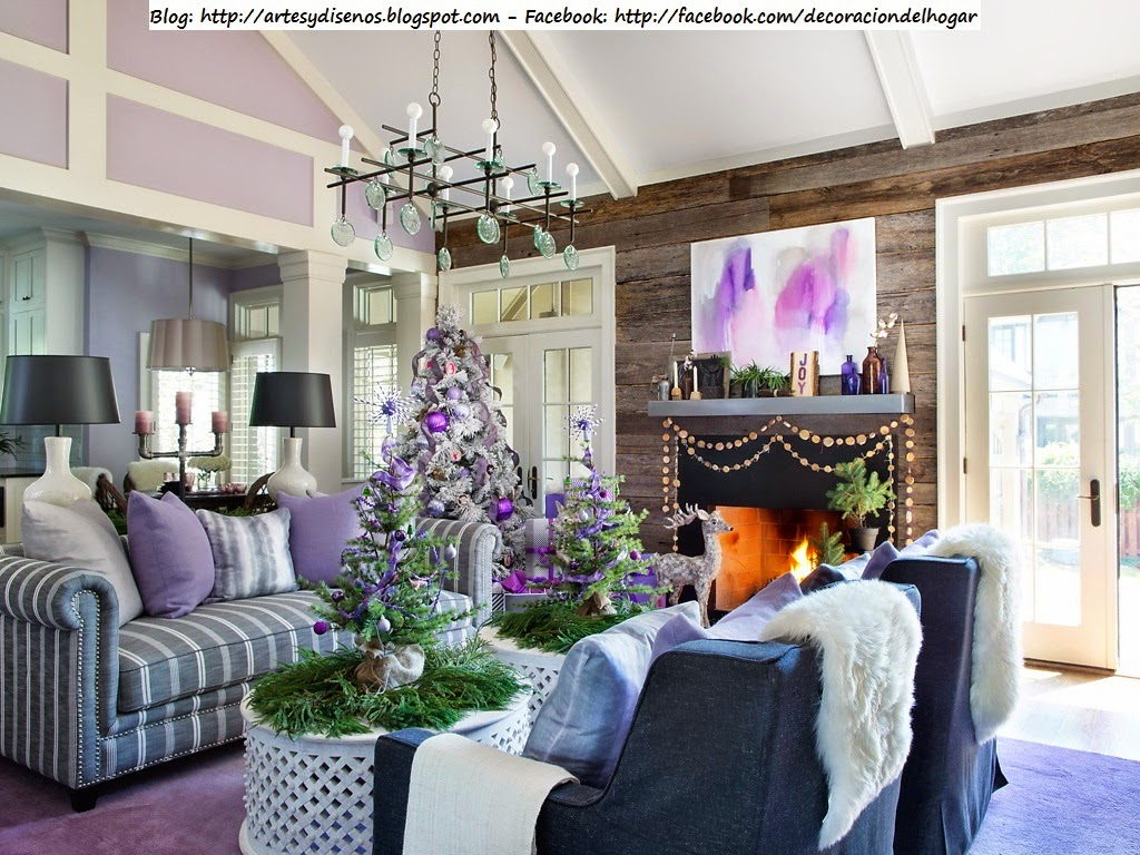 Decorar la casa para navidad con tonos lila violeta - Decoracion casa en navidad ...