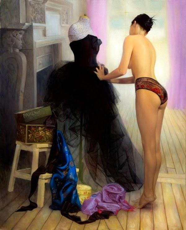 pintura de belas mulheres - paris