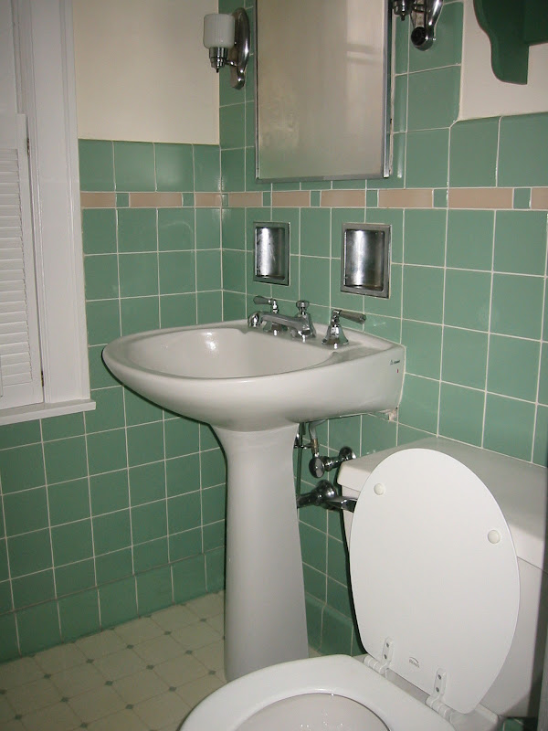 replaced the original wall hung sink with this snazzy pedestal sink  title=