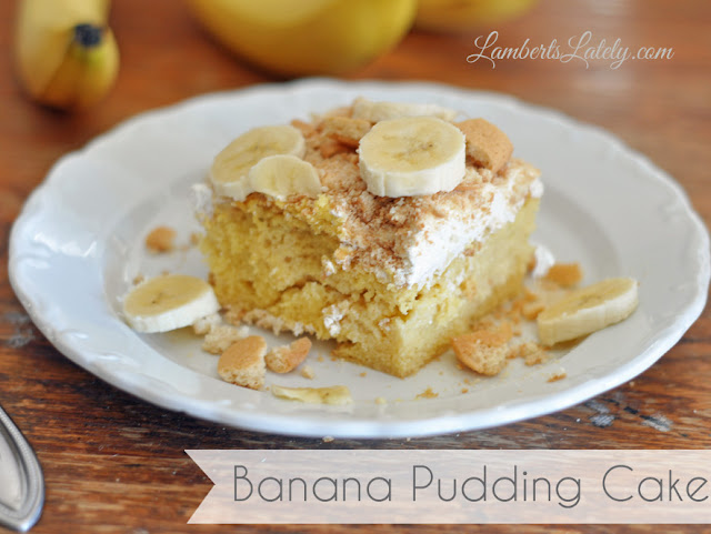 Melt in your mouth banana pudding cake!  This is the perfect recipe for a potluck dinner (or any dinner, for that matter).  Yum! http://www.lambertslately.com/2013/04/recipe-banana-pudding-cake.html