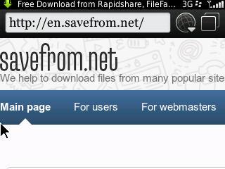 Capture savefrom.net untuk download film dengan BlackBerry