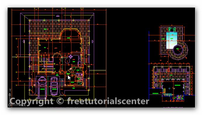 Villa design autocad project villa plan design dwg for Villa plan dwg
